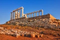 Висок бога Poseidon - накидки Sounion - Греции стоковое изображение rf