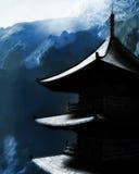 Висок Дзэн буддийский в горах иллюстрация штока