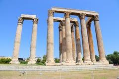 Висок Зевса олимпийца, Афин, Греции Стоковые Фотографии RF