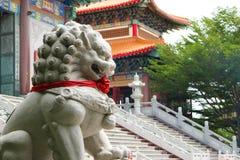 Висок китайца фронта статуи льва каменный Стоковое Фото