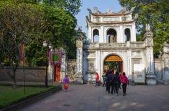 Висок Литературы Van Mieu в Ханое, Вьетнаме Главным образом e Стоковая Фотография RF