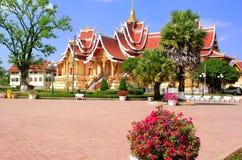 Висок на Pha которое комплекс Luang, Вьентьян, Лаос стоковые фото