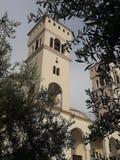 Висок окруженный оливковыми деревами стоковая фотография rf