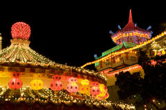 Висок освещенный вверх на китайское Новый Год Стоковые Изображения