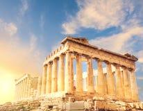 Висок Парфенона, акрополь в Афинах, Греции стоковое изображение