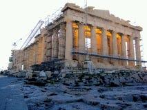 Висок Парфенона, акрополь Стоковая Фотография