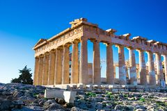Висок Парфенона на акрополе в Афинах, Греции стоковая фотография