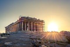 Висок Парфенона на акрополе в Athense стоковое фото
