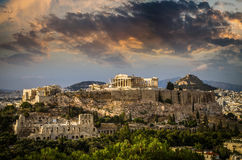 Висок Парфенона на афинском акрополе, Афинах, Греции Стоковое Изображение RF