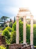 Висок рицинуса и Поллукса, итальянский: Dei Dioscuri Tempio Старые руины римского форума, Рима, Италии Детальный взгляд стоковые изображения