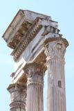 Висок рицинуса и Поллукса в римском форуме, Рим, Италии Стоковое Изображение