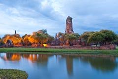 висок руины озера ayutthaya Стоковое Изображение RF