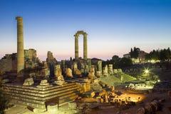 Висок руин Аполлона в городе Турции 2014 Didyma античном Стоковые Изображения