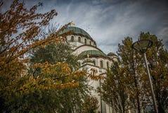 Висок Святого Sava в осени стоковая фотография rf