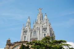 Висок священного сердца на держателе Tibidabo в Барселоне, s Стоковые Изображения