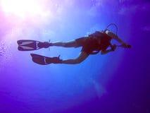 висок силуэта шейха sharm моря скуба Египета el водолаза красный Стоковое фото RF