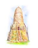 висок Таиланд Ayutthaya Буддийские stupas Стоковая Фотография