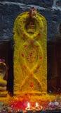 Висок Arunacheshvara Конец-вверх пламени свечи в индийском Shiva Стоковые Фотографии RF