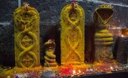 Висок Arunacheshvara Конец-вверх пламени свечи в индийском Shiva Стоковая Фотография