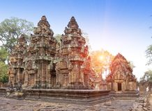Висок Banteay Srey губит столетие на заходе солнца, Siem Reap Xth, Камбоджу стоковая фотография