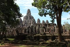 Висок Bayon внутри Angkor Thom Стоковое Фото