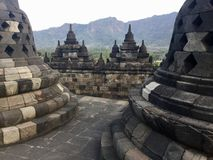 Висок Borobudur буддийский Stupas Около Yogyakarta на острове Ява, Индонезия стоковое изображение