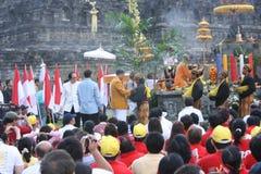 Висок Borobudur и работа Стоковое Фото