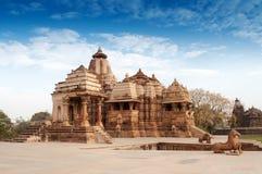 Висок Devi Jagdambi, Khajuraho , Место всемирного наследия ЮНЕСКО Стоковые Фотографии RF