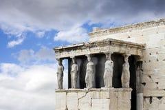 висок erechtheum caryatids athens акрополя Стоковое Фото