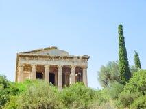 Висок Hephaistos около акрополя в Афинах стоковое изображение