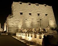 Висок Karnak в Луксор на ноче Стоковая Фотография