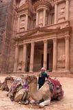 Висок Khazneh Al в городе Petra Стоковое фото RF