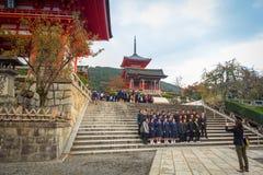 Висок Kiyomizu-Dera буддийский в Киото, Японии Стоковая Фотография