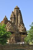 Висок Lakshmana, предназначенный к лорду Vishnu, западные виски Khajuraho стоковые фотографии rf