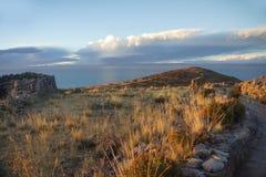 Висок Pachamama Остров Amantani в озере Titicaca Puno, Перу Стоковые Изображения RF