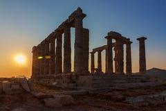 Висок Poseidon - накидка Sounion - Греция Стоковая Фотография RF