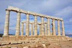 Висок Poseidon на накидке Sounion Attica Греции Стоковое фото RF