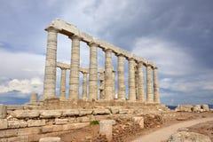 Висок Poseidon на накидке Sounion Attica Греции Стоковые Фото