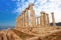Висок Poseidon на Средиземном море, Афинах стоковая фотография rf