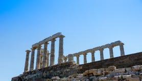 Висок Poseidon-Нептуна в Sounio Греции Стоковые Изображения RF
