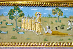 висок prabang картины luang буддиста внутренний Стоковые Фото