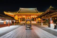 Висок Sensoji на ноче Стоковое Изображение RF