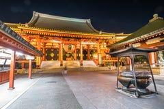 Висок Sensoji на ноче Стоковая Фотография