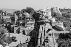 Висок shiv Kumbhalgarh monochrome, Раджастхан, Индия Стоковые Изображения