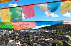 Висок Songzanlin также известный как монастырь Ganden Sumtseling, тибетский буддийский монастырь в городе Шангри-Ла Zhongdian, y Стоковая Фотография