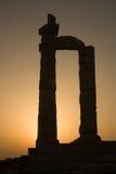 висок sounion poseidon Греции плащи-накидк Стоковые Фото