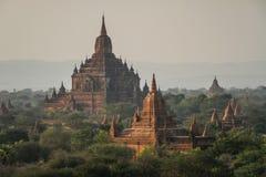 Висок Sulamani от верхней части пагоды Pyathatgyi на заходе солнца, bagan, области Мандалая, Мьянмы Стоковое Изображение RF