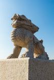 Висок Wanshou в Чанчуни, каменных львах Стоковые Фото