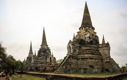 Висок Wat Phra Sri Sanphet, Ayutthaya, таз Chao Phraya, центральный Таиланд, Таиланд стоковое фото