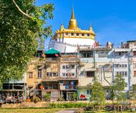 Висок Wat Saket также известный как взгляд Золотой Горы в Бангкоке Стоковые Фотографии RF